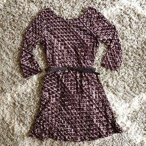 AS U WISH, Print Dress with skinny belt, size M,